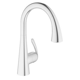 Grohe 32 298 1 Ladylux Pull-Down High-Arc Kitchen Faucet with 2-Function Locking Sprayer