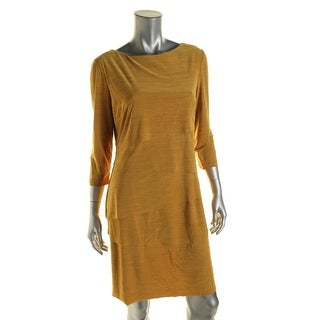 Tahari ASL Womens Aaron Tiered Asymmetrical Wear to Work Dress