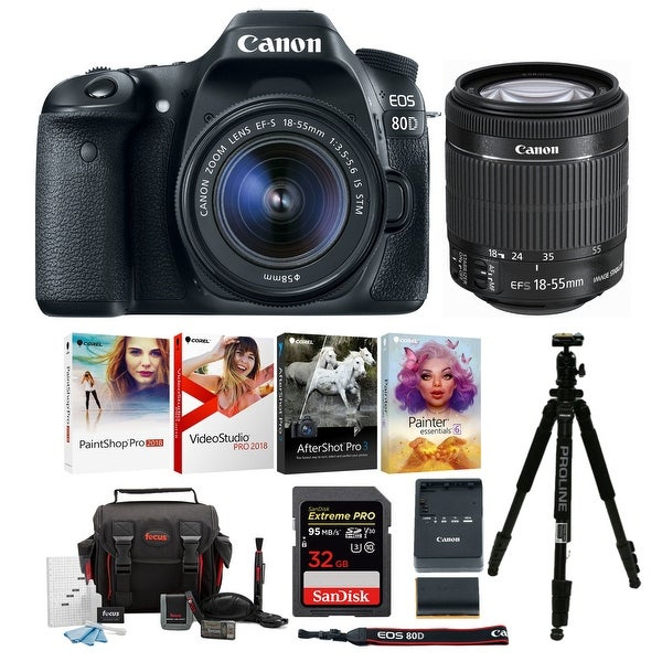 Shop Canon EOS 80D DSLR Camera with EF-S 18-55mm f/3 5-5 6
