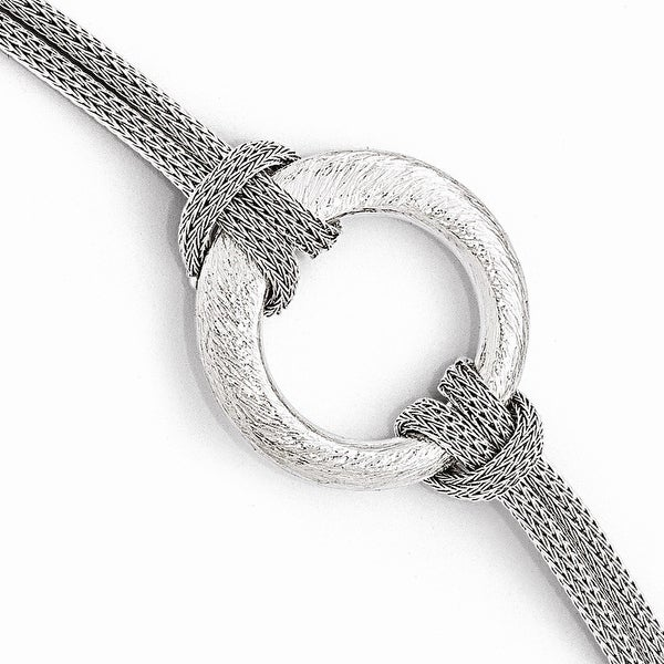 Italian Sterling Silver Textured Bracelet - 7.5 inches