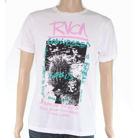 RVCA Mens T-Shirt White Black Size Medium M Graphic Print Crewneck Tee