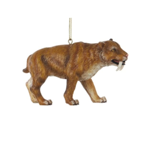 """3.75"""" Saber-Toothed Tiger Prehistoric Animal Christmas Ornament"""