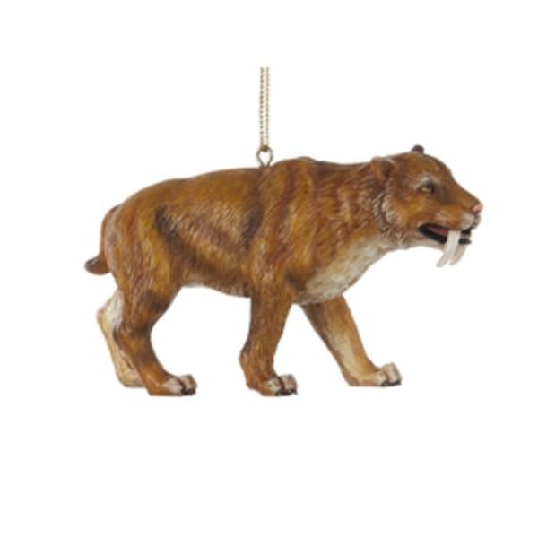 "3.75"" Saber-Toothed Tiger Prehistoric Animal Christmas Ornament - brown"