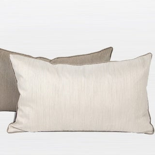 "G Home Collection Luxury White And Taupe Two Color Faux Silk Pillow 12""X20"""