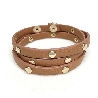 Potissi Circle Metal Stud Genuine Leather Wrap Bracelet