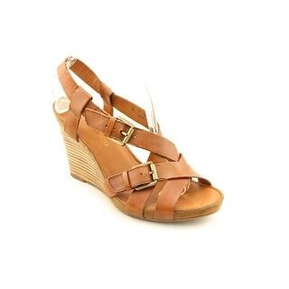 Franco Sarto Hallie Women Open Toe Leather Wedge Sandal