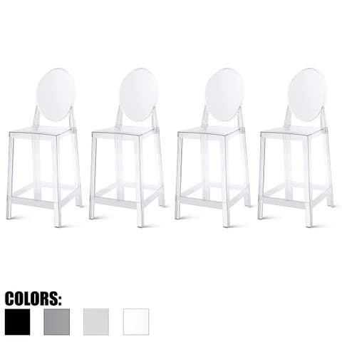 "2xhome Set of 4 25"" Seat Bar Stool Counter Height With Backs Plastic High Chairs Dining Molded Patio Outdoor Kitchen Transparent"