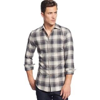 Club Room Slim Fit Flannel Shirt Small Black and Marcona Almond Plaid Cotton