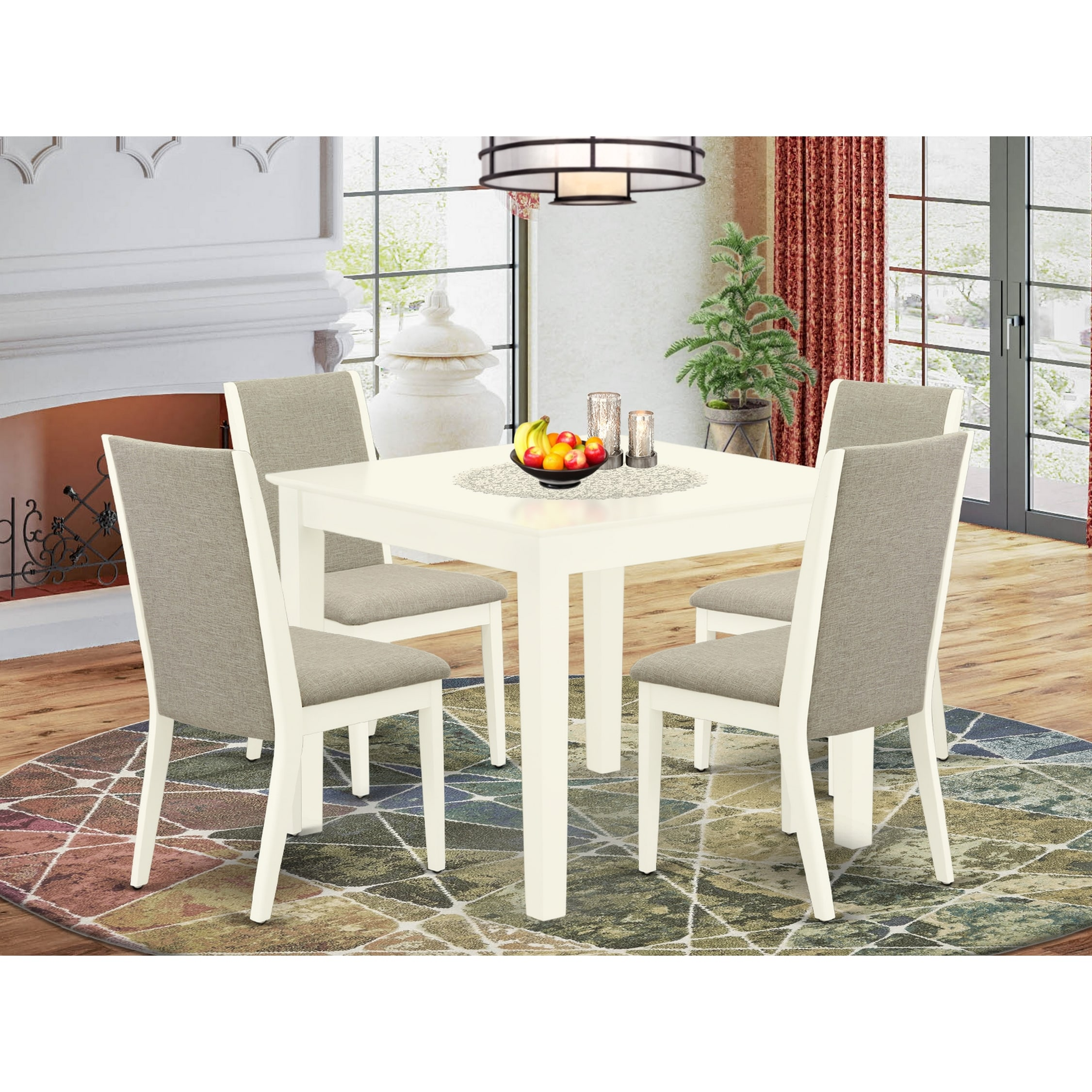 Shop Oxla5 Lwh 06 5 Pc Dining Room Set 4 Parson Chairs And Rectangle Wood Table High Back Linen White Finish Overstock 32085541 Grey