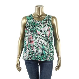 Kasper Womens Printed Sleeveless Blouse