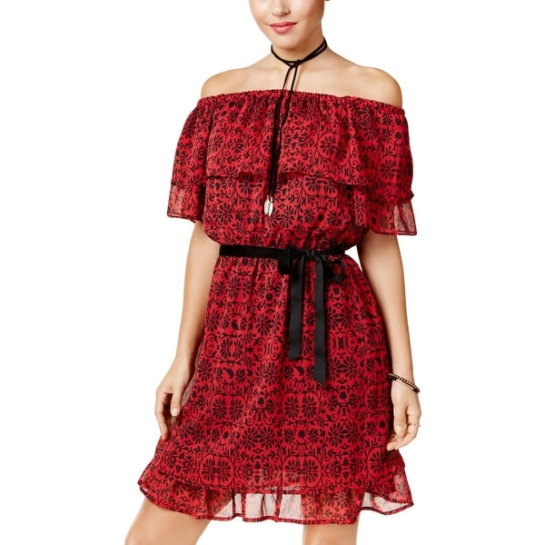 ed64160e2 Shop Disney Womens Juniors Snow White Mini Dress Off-The-Shoulder Printed -  Free Shipping On Orders Over $45 - Overstock - 27286565