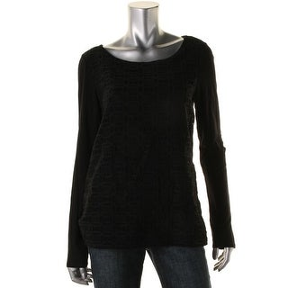 Studio M Womens Pullover Top Lace Front Long Sleeve