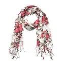 Women's Fashion Floral Soft Wraps Scarves - F1 Coral - Large - Thumbnail 0