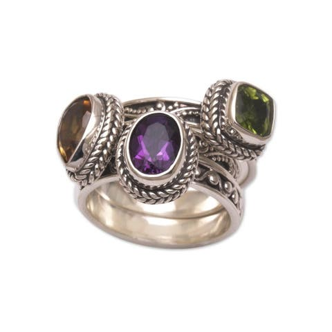NOVICA Perfect Prism, Multi-gemstone stacking rings (set of 3)