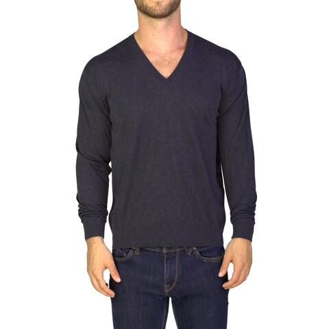 Prada Men's Cotton Cashmere Blend Crewneck Sweater Grey