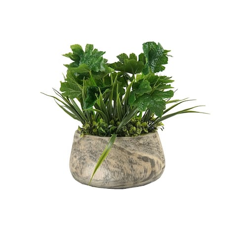 MODA MDW-1022-1023 wood pot decoration - 8.66*8.66*11.42 inches