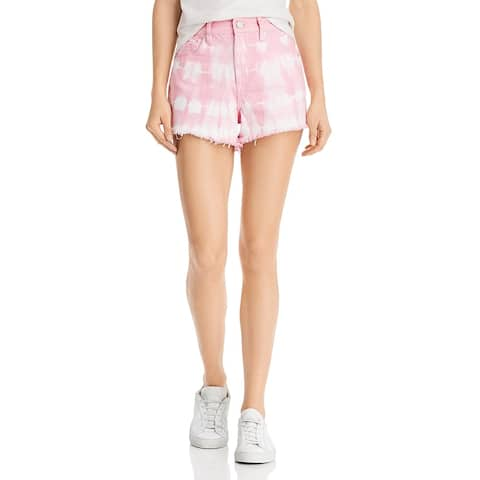 [BLANKNYC] Womens The Barrow Cutoff Shorts Denim High Waist - Bubble Pink