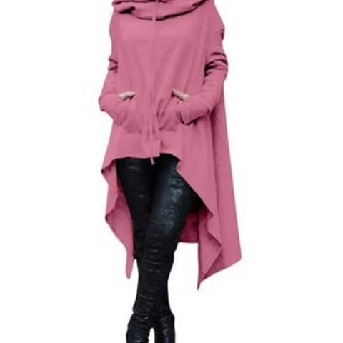 Women's Solid Color Draw Cord Coat Long Sleeve Loose Casual Poncho Coat
