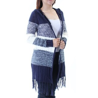 ALMOST FAMOUS $49 Womens 1106 Navy Striped Fringed Long Sleeve Sweater XS B+B
