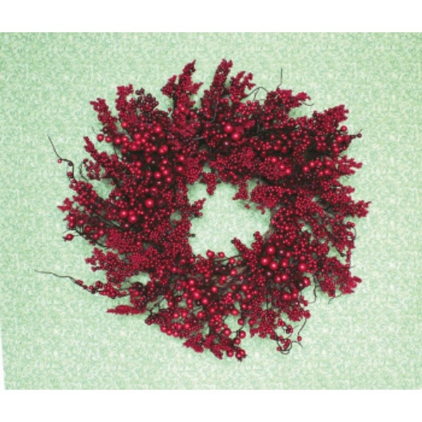 "Pack of 2 Festive Red Berry Artificial Christmas Wreaths 22"" - Unlit"