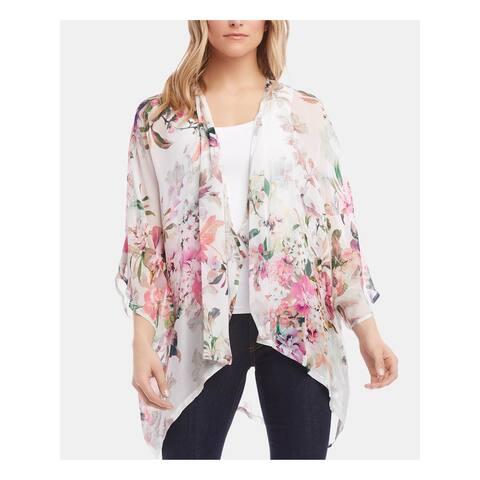 KAREN KANE Womens White Floral Kimono Sleeve Kimono Top Size M