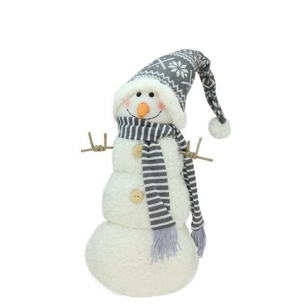 """15"""" Snowman with Gray and White Hat Christmas Tabletop Decoration"""