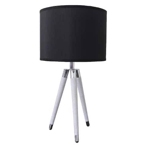 """26.75"""" Modern White Faux Leather Tripod Table Lamp"""