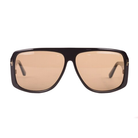 Tom Ford Dark Brown Shield Sunglasses with Brown Lenses