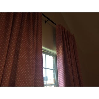 Exclusive Fabrics Pink Polka Dot Blackout Back Tab Pole