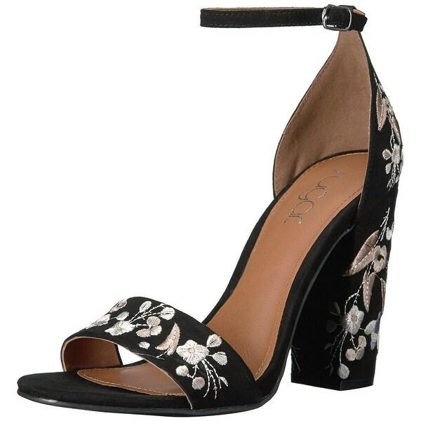 Sugar Women's Silck Flower Floral Embroidered Block High Heel, Black, Size 9.5