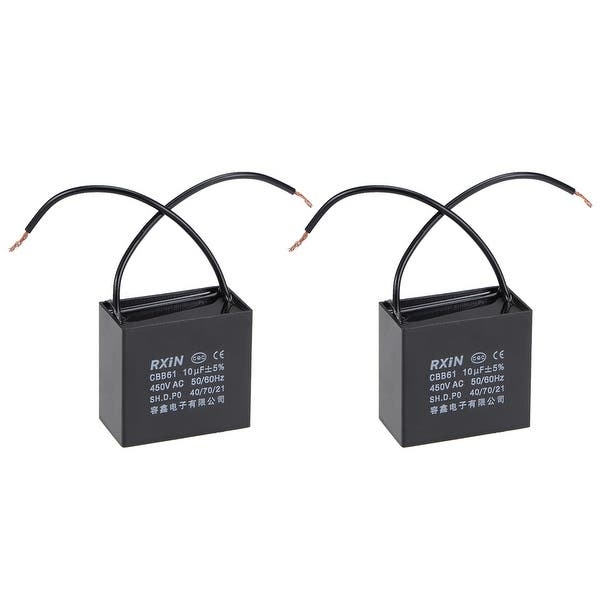 Shop 2 Wire CBB61 Ceiling Fan Capacitor 10uF 450V AC Motor Run Capacitors  2pcs - On Sale - Overstock - 30423192Overstock.com