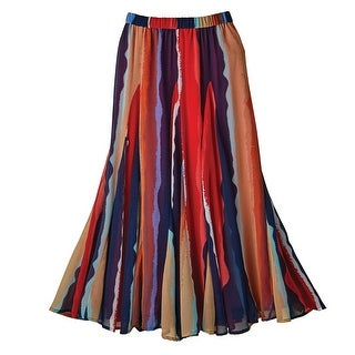 Women's Maxi Skirt - Starfire Stripe Georgette Skirt - Elastic Waistband