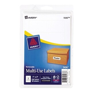 Avery Removable-Adhesive Rectangular Identification Labels For Laser and Inkjet Printers, 1-1/2 x 3 in, White, Pack of 150