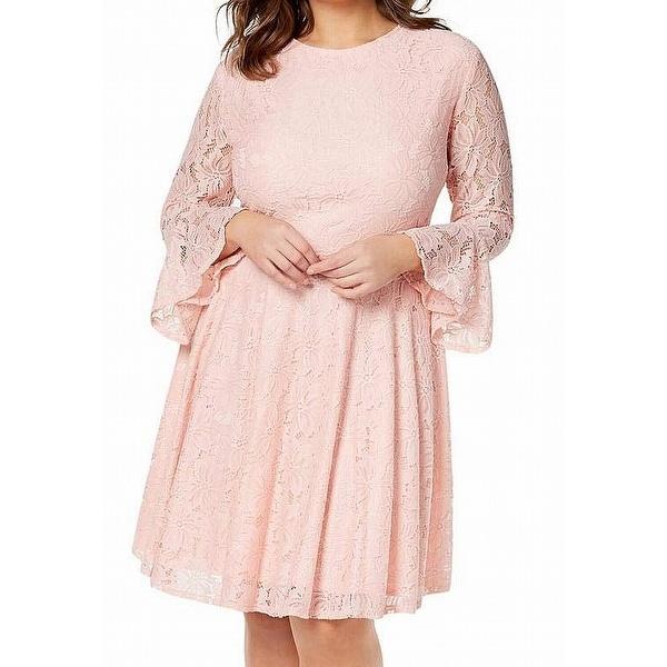 Shop City Studio Pink Women\'s Size 18 Plus Floral Lace A-Line Dress ...