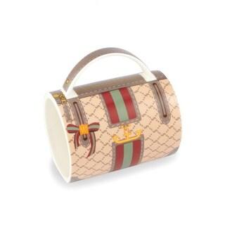 "5"" Fashion Avenue Burgundy Red, Teal and Gold Ceramic Handbag Mug"