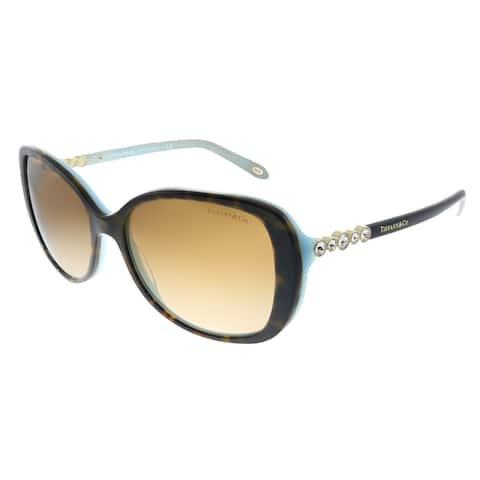 Tiffany & Co. TF 4121B 81343B Womens Havana on Tiffany Blue Frame Brown Gradient Lens Sunglasses