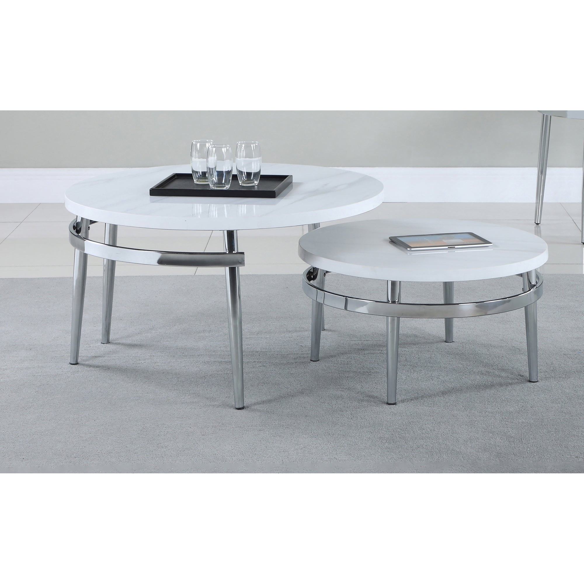 Picture of: Shop Black Friday Deals On White And Chrome Round Nesting Coffee Table Overstock 32248349