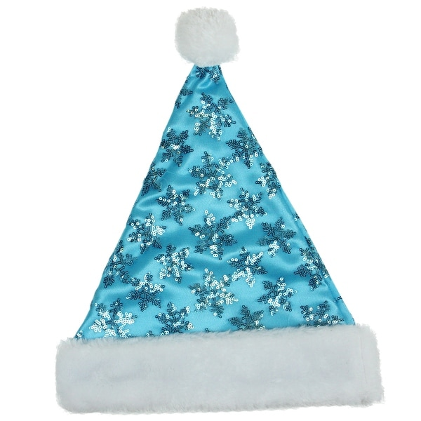 "14"" Blue Sequin Snowflake Christmas Santa with White Faux Fur Brim - Medium Adult Size"