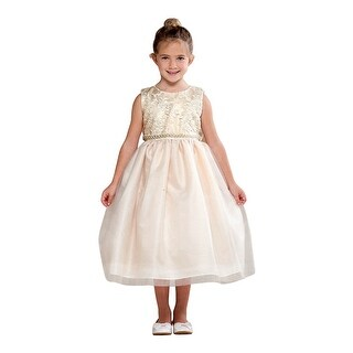 Crayon Kids Little Girls Ivory Embroidered Bejeweled Flower Girl Dress