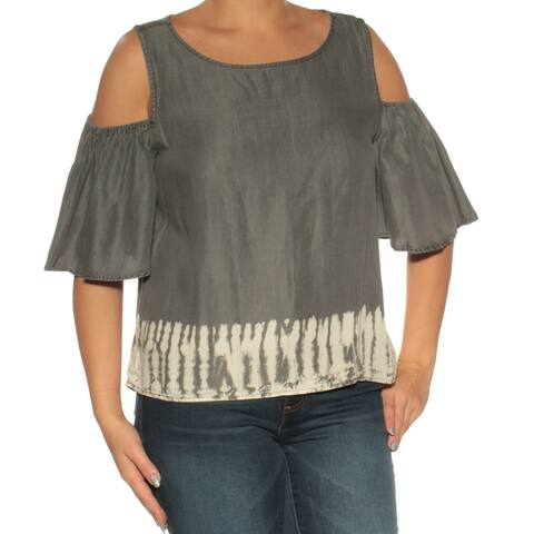 BUFFALO Womens Gray Cold Shoulder Short Sleeve Boat Neck Top Size: XS