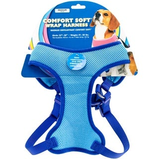 "Comfort Soft Wrap Adjustable Dog Harness Medium-Blue, Girth Size 22""-28"""