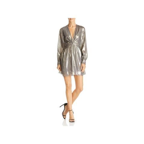Ramy Brook Womens Elise Party Dress Silk Metallic