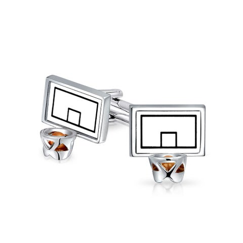 Bling Jewelry Basketball Backboard and Hoop Sports Mens Cufflinks Rhodium Plated