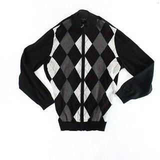 Club Room NEW Black Mens Size XL Argyle Print Ribbed Full Zip Sweater