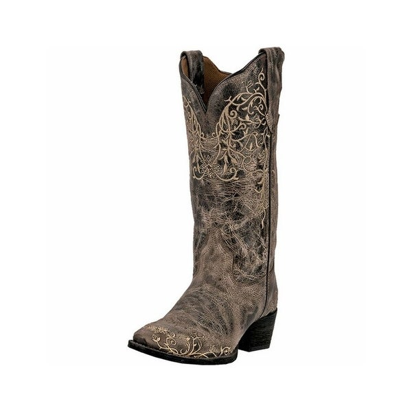 """Laredo Western Boots Womens 12"""" Flower Embroidery Taupe"""