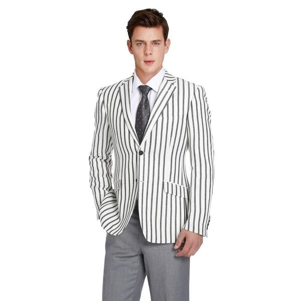Mens Slim Fit Lightweight Blazer Linen-Blend Summer Soft Sport Jacket