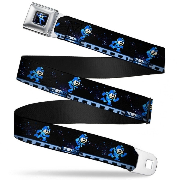 Megaman 8 Bit Jumping Pose Full Color Black Blues Megaman 8 Bit Running Seatbelt Belt