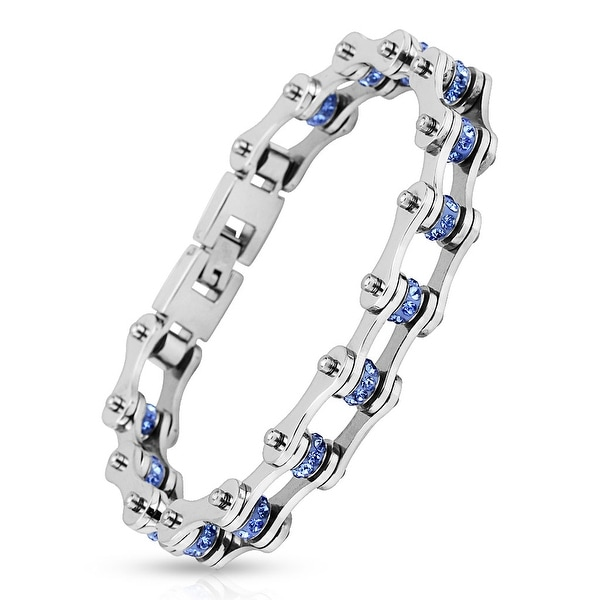 Motorcycle Chain Blue Gem Link 316L Stainless Steel Biker Bracelet (13.4 mm) - 9 in