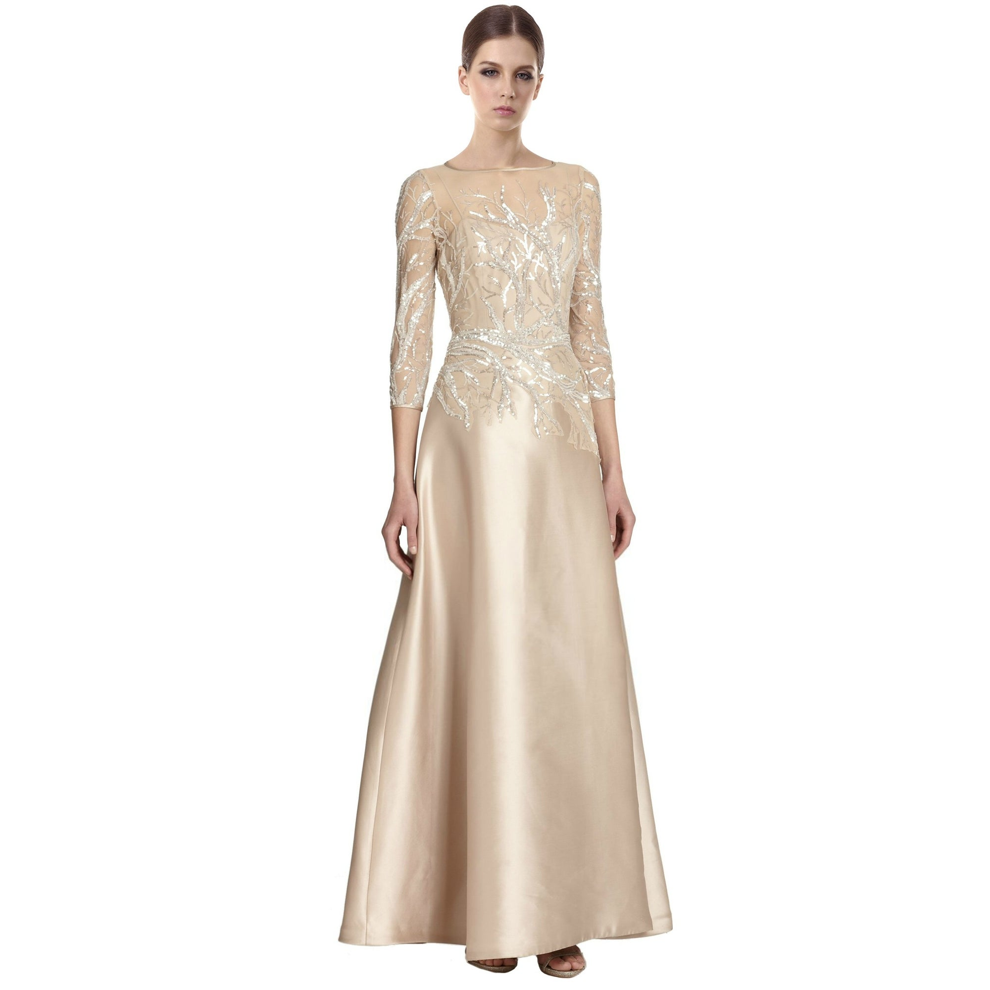 Teri Jon Elegant Bead Top Sequined Branches Satin Gown Dress Champagne