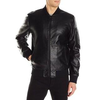 Guess NEW Deep Black Men Size Medium M Alfred Front Zip Textured Jacket